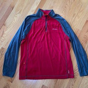 Eddie Bauer Quarter Zip Long Sleeve Red Gray Top